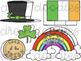 St. Patrick's Day Doodles Digital Clip Art Set- Color and Black Line COMBO