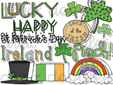 St. Patrick's Day Doodles Digital Clip Art Set- Color and