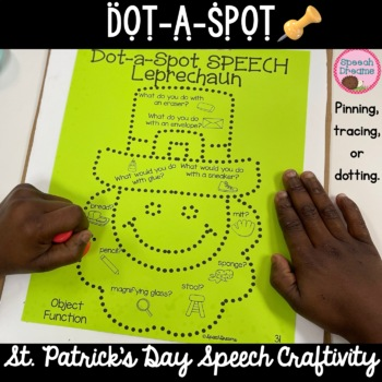 St. Patrick's Day Dot a Spot Speech Therapy Craft pinning tracing dotting