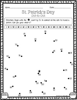 St. Patrick's Day: Dot-to-Dot (Counting by 1's, 2's, and 5's)