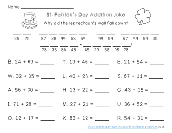St. Patrick's Day Double-Digit Addition and Subtraction Jokes