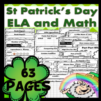 St Patrick's Day MATH and ELA 63 pgs Money, Time, Rhyming,