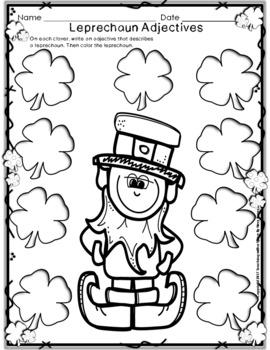 St Patrick's Day MATH and ELA  Leprechaun