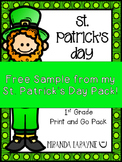 St. Patrick's Day - ELA & MATH Print and Go Pack FREEBIE