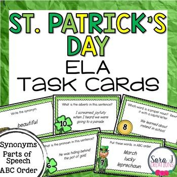 St. Patrick's Day ELA Task Cards