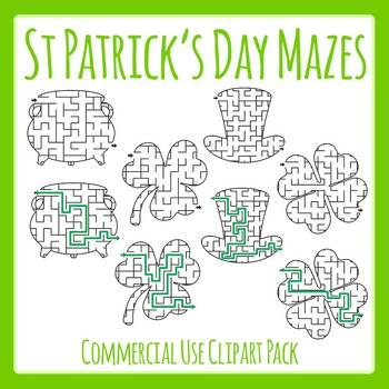 St Patrick's Day Easier Mazes Clip Art Set for Commercial Use