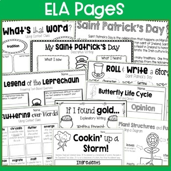 St. Patrick's Day, Rabbits, Butterflies, & Storms: No Prep March Printables