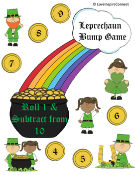 St. Patrick's Day Easy Subtraction Bump Game