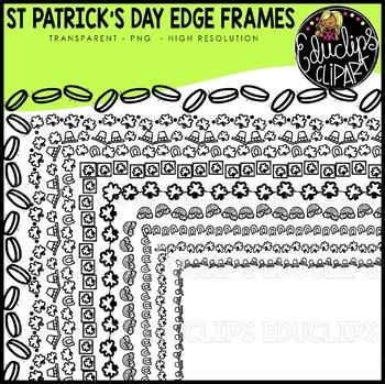 St Patrick's Day Edge Frames Clip Art Set {Educlips Clipart}