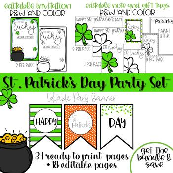 St. Patrick's Day Editable Class Party Set