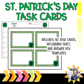 St.Patrick's Day Editable Task Card Template