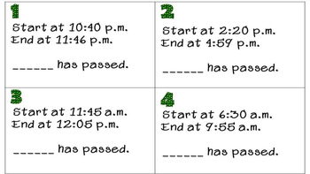 St. Patrick's Day Elapsed Time Task Card