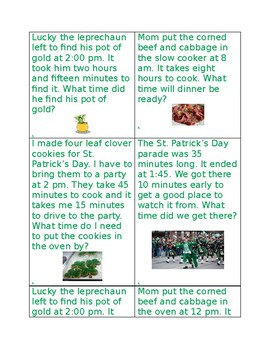 St Patrick's Day Elapsed Time Task Cards- Differentiated