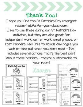 St. Patrick's Day Emergent Reader!