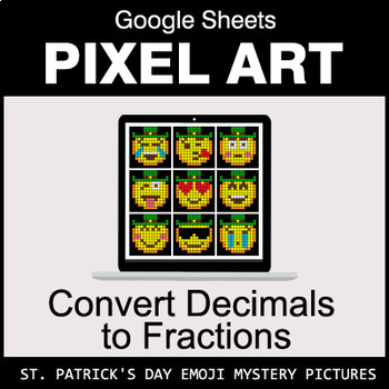 St. Patrick's Day Emoji - Decimals to Fractions - Google Sheets Pixel Art