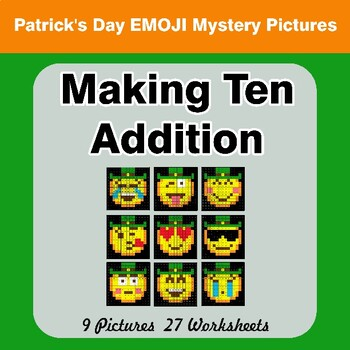 St. Patrick's Day Emoji: Making Ten Addition - Math Mystery Pictures