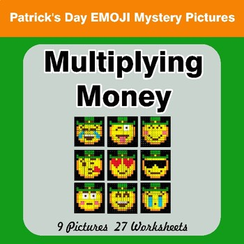 St. Patrick's Day Emoji: Multiplying Money - Math Mystery Pictures