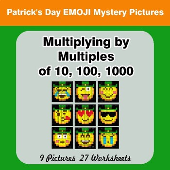 St. Patrick's Day Emoji: Multiplying by Multiples of 10, 100, 1000