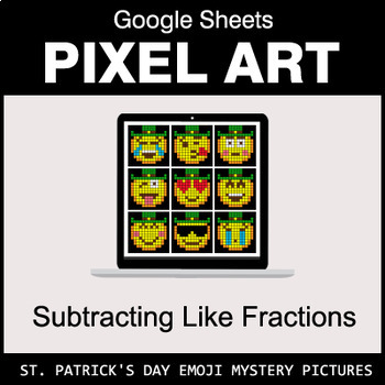 St. Patrick's Day Emoji - Subtracting Like Fractions - Google Sheets Pixel Art
