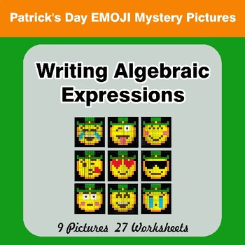 St. Patrick's Day Emoji: Writing Algebraic Expressions - Math Mystery Pictures