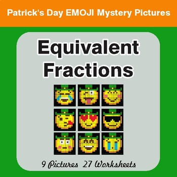 St. Patrick's Day: Equivalent Fractions - Color-By-Number Mystery Pictures