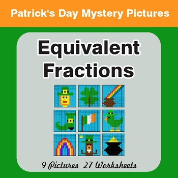 St. Patrick's Day: Equivalent Fractions - Color-By-Number Math Mystery Pictures