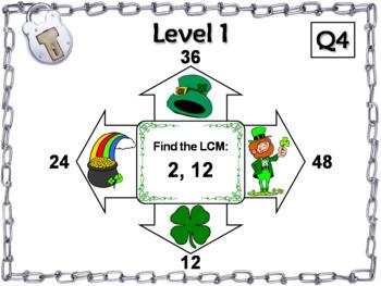St. Patrick's Day Escape Room Math: Least Common Multiple 4th 5th 6th 7th Grade