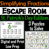 St. Patrick's Day Escape Room Math: Simplifying Fractions 4th 5th 6th 7th Grade