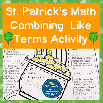 St. Patrick's Day Evaluating Algebraic Expressions Math Activity