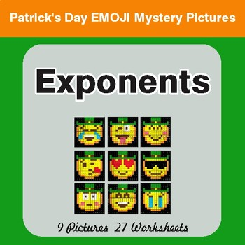 St. Patrick's Day: Exponents - Color-By-Number Math Mystery Pictures