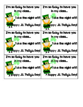 St. Patrick's Day FREE Homework Passes
