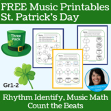 St. Patrick's Day FREEBIE | Primary Music Printables | Music Theory 3-Pack