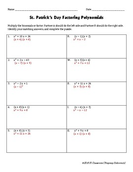 St. Patrick's Day Factoring  & Multiplying Polynomials