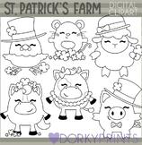 St Patrick's Day Farm Animal Blackline Clipart