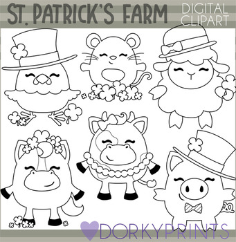 St Patrick's Day Farm Animal Blackline Clipart