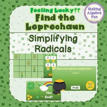 """St Patrick's Day """"Feeling Lucky"""" Game Algebra Simplifying Radical Expressions"""