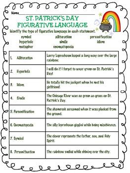 St. Patrick's Day Figurative Language Identification Worksheet, March