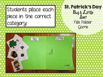 St. Patrick's Day File Folder Game: Big Little Sort