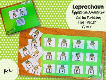 St. Patrick's Day File Folder Game: UPPERCASE to lowercase Matching A-L