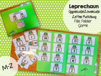 St. Patrick's Day File Folder Game:  UPPERCASE to lowercase Matching M-Z