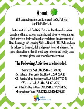St. Patrick's Day File Folder Unit - 6 Activities with ABLLS-R Codes