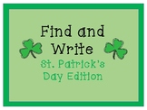 WRITE THE ROOM: St. Patrick's Day Find and Write