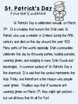 St. Patrick's Day Find the Evidence!