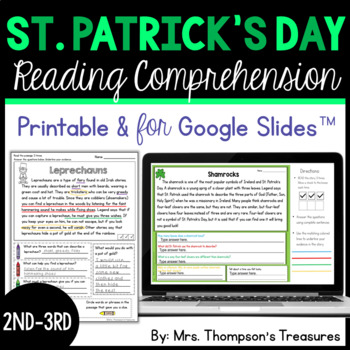 St. Patrick's Day - Finding Text Evidence Reading Comprehe