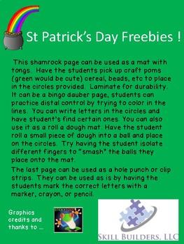 St. Patrick's Day Fine Motor No Prep Freebie