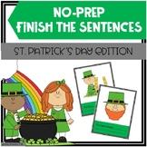 St. Patrick's Day Finish The Sentences No-Prep Activity