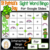 St Patrick's Day First 25 Sight Words Interactive Bingo Game for Google Slides™