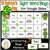 St Patrick's Day First 25 Sight Words Interactive Bingo Ga