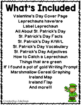 St. Patrick's Day Activities Interactive Notebook Lapbook