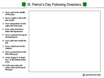 St. Patrick's Day Following Directions